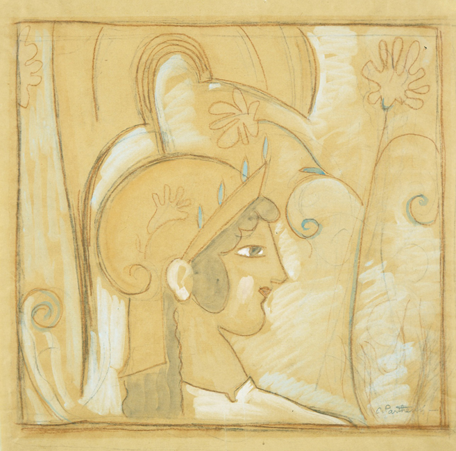 head-of-athena-1924, parthenis (art nouveau)